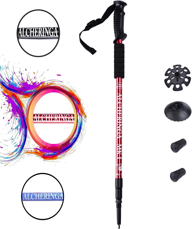 Alcheringa de 65 a 135 cm con absorci/ón de Impactos Par de Bastones de Senderismo Plegables y Ligeros