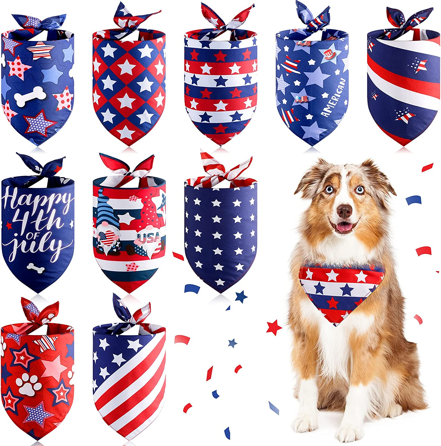 10 Pieces American Flag Dog Bandana 4th of July Dog Bandanas Patriotic Dog Bandanas Triangle Bib Scarf Reversible Accessories Independence Day Bibs Dog Kerchief Set for Small Medium Large Dogs