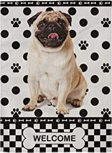 """pingpi Decorative Outdoor Double Sided Pug Garden Flag Welcome Quote, House Yard Flag, Garden Yard Decorations, Seasonal Outdoor Flag 12.5""""x18"""""""