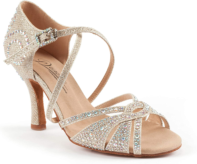 Amazon Com Dancine Starry Professional Ballroom Latin Salsa Social Wedding Dance Shoes Double Layer Heel Tip 8 5cm 3 3 Heel Ballet Dance