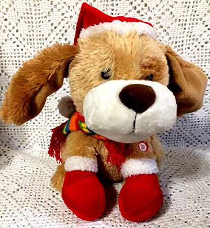 you make me wanna shout merry christmas dog sings flapping ears plush stuffed animal toy animated