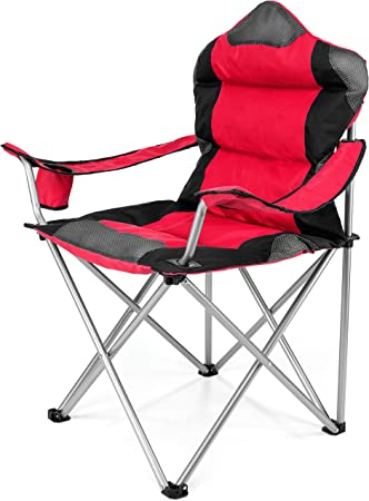 TRESKO® Silla de Camping Plegable y transportable | hasta 150 kg | Silla de Pesca portátil con reposabrazos y portabebidas