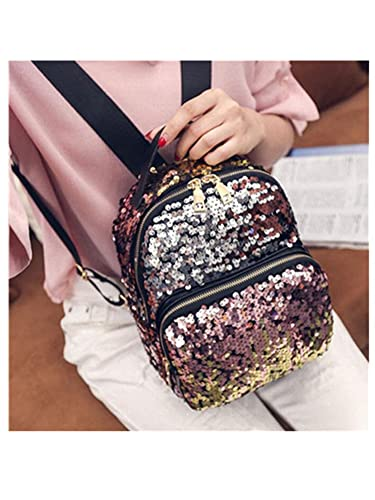 Amazon.com  bahu Women Mini Backpack Pu Leather Sequins Backpack Small Travel  Bag Princess Backpacks For Girls 3 Colors  Shoes 2eb86978ed105