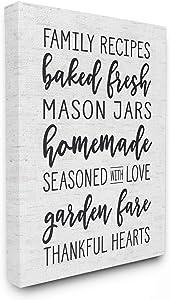 Stupell Industries Family Recipes Baked Fresh Garden Mason Jars Subtle Birch Typography Canvas Wall Art, 16 x 20, Multi-Color