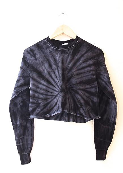 Era Of Artists, Llc Black Tie Dye Cropped Long Sleeve Tee by Era Of Artists, Llc