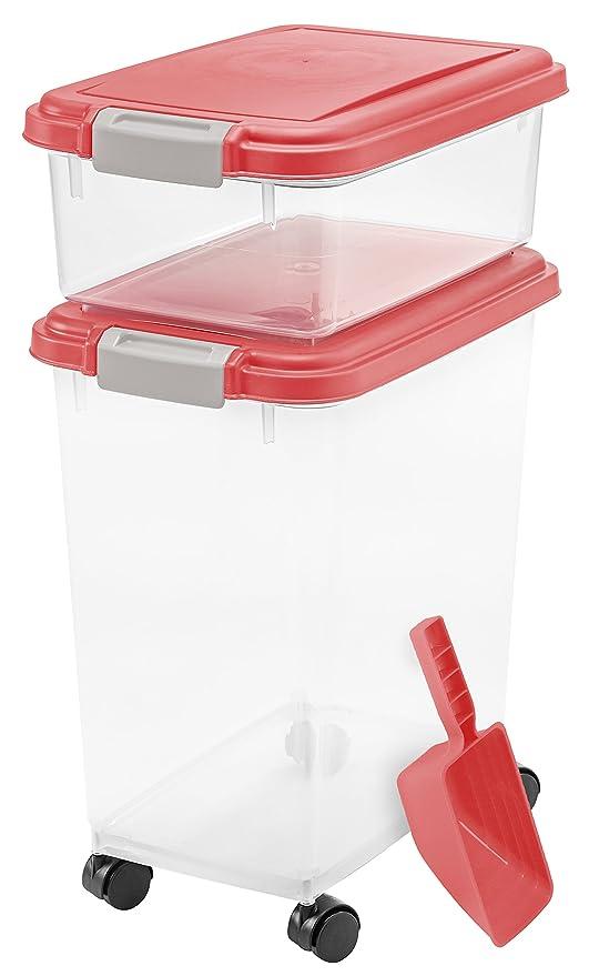 IRIS USA Inc. 3- Piece Airtight Pet Food Storage Container Combo Red  sc 1 st  Amazon.com & Pet Supplies : IRIS USA Inc. 3- Piece Airtight Pet Food Storage ...
