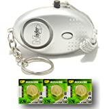 Minder® 140db Police Approved Metallic Silver Mini Minder Loud Personal Staff Panic Rape Attack Safety Security Alarm Keyring with Torch - Secured by Design Approved (Police Preferred Specification) - With Spare Set of Batteries