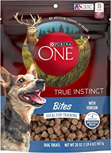 Purina ONE Made in USA Facilities Dog Training Treats, True Instinct Bites With Venison - 20 oz. Pouch