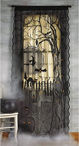 Spooky Lighted Lace Curtain Panel Halloween Holiday Seasonal fall Decor