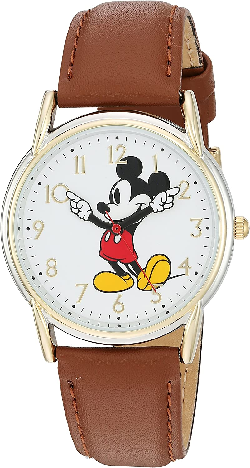 DISNEY Women's Mickey Mouse Analog-Quartz Watch with Leather-Synthetic Strap, Brown, 18 (Model: W002756)