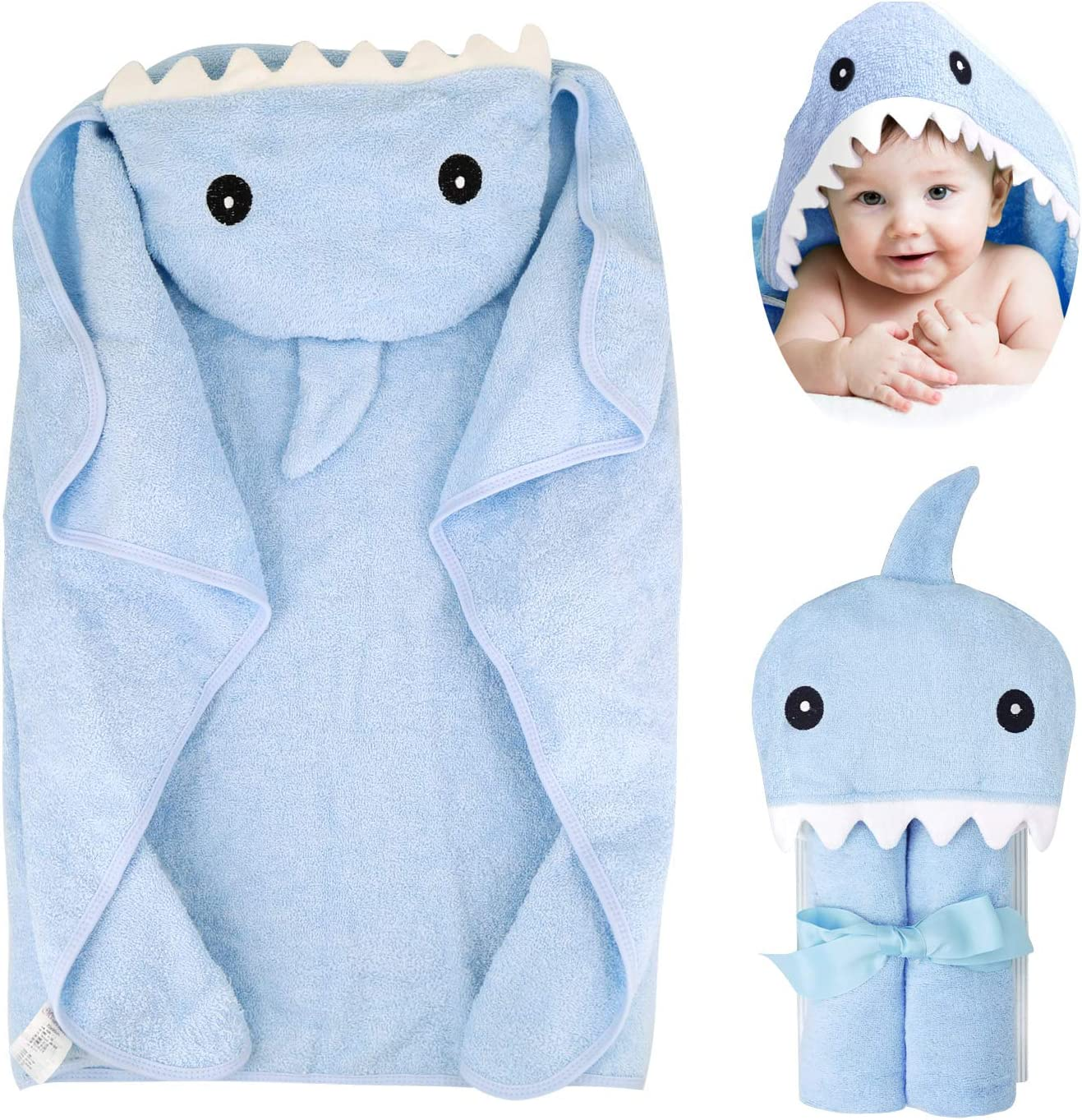 mini eggs Hooded Baby Towel 100% Cotton Toddler Bath Towels with Hood Girl Boy 0-7T Blue