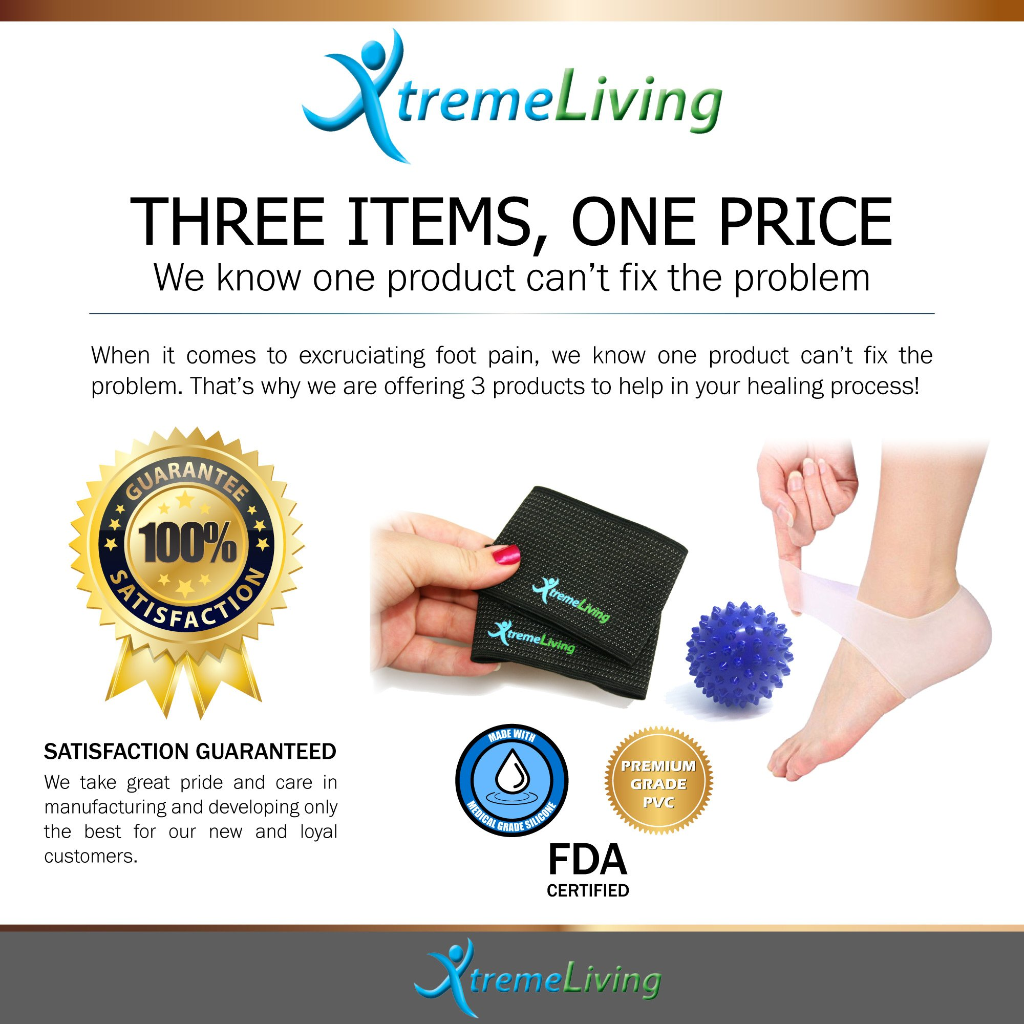 Plantar Fasciitis Compression Arch Support, 2 Arch Sleeves, 2 Gel Heel Sleeves, Massage Ball, 5pc Set by Xtreme Living (Image #5)