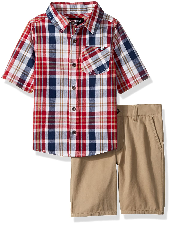 Marc Ecko Boys' Little Plaid Woven Shirt SND Short Set