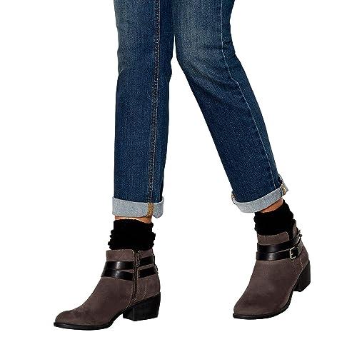 114287f6e7a1 Mantaray Womens Grey Suedette  Mel  Block Heel Ankle Boots 7  Amazon ...