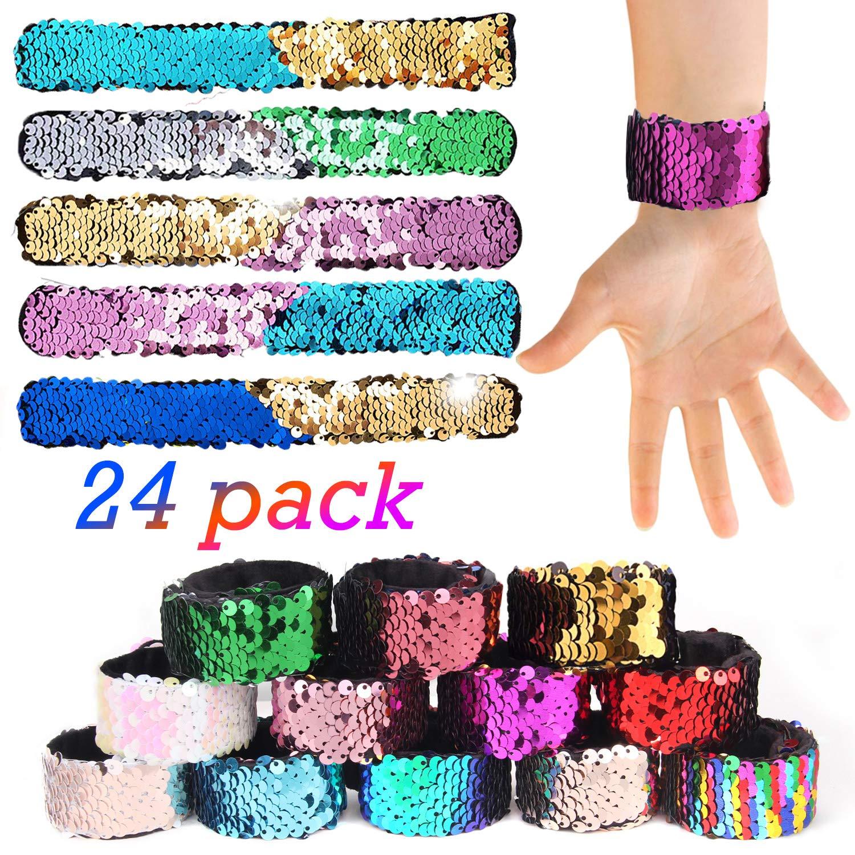 Satkago 24 Pcs Mermaid Slap Bracelets Party Favors Easter Gifts for Kids, Two-Color Decorative Reversible Sequin Bracelets, Class Prizes for Kids, Girls