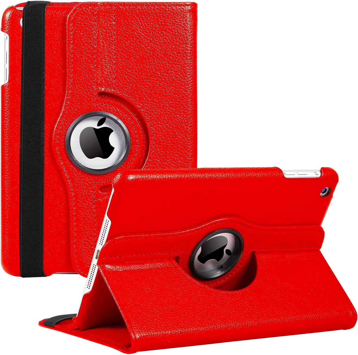 iPad Mini 1/2/3 Case - 360 Degree Rotating Stand Smart Cover Case with Auto Sleep/Wake Feature for Apple iPad Mini 1 / iPad Mini 2 / iPad Mini 3 (Red) …
