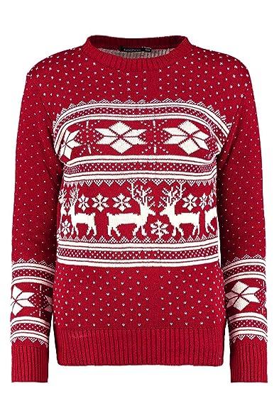 Boohoo Womens Roxy Reindeer Fairisle Christmas Jumper In Wine Size ...