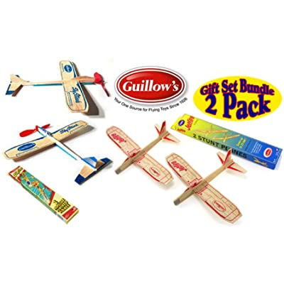 Guillows Balsa Wood Gliders Jetfire Twin Pack & Sky Streak Twin Pack Gift Set Bundle - (4 Planes Total) by Guillow: Toys & Games