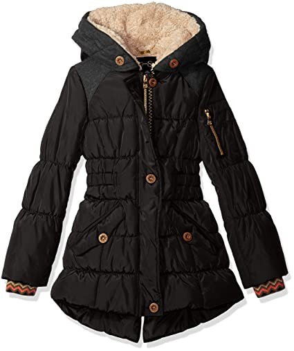 Jessica Simpson Girls' Big Girls' Heavyweight Expedition Coat, Black, 14/16