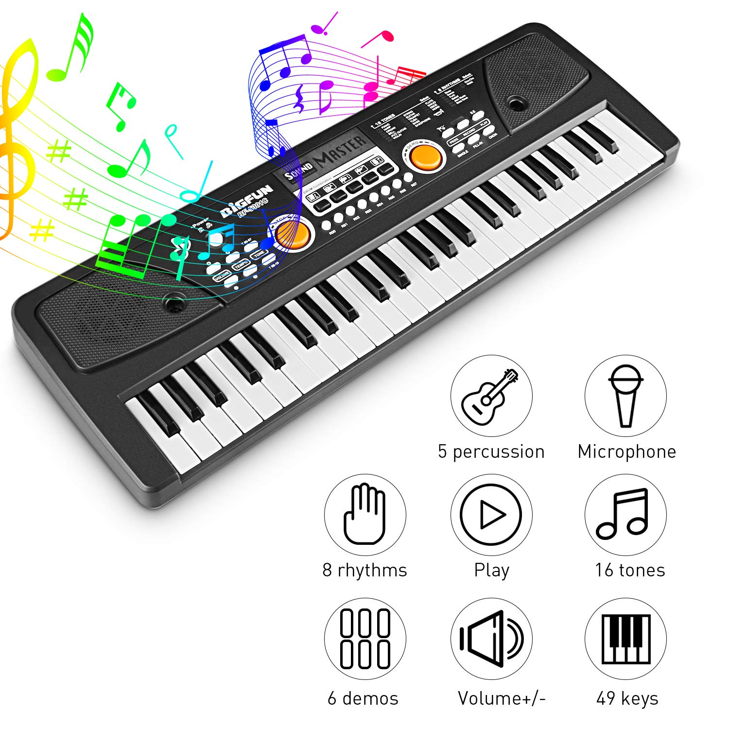Kids Piano Keyboard 49 Keys- Multi-function Portable Piano Keyboard Electronic Organ with Charging function for Kids and Beginners Chargeable by Tencoz (Image #4)
