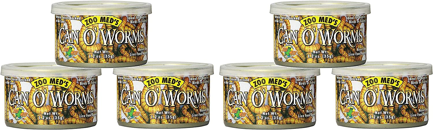 Zoo Med 6 Pack Can O'Worms, 1.2 Ounces Each, Reptile Bird and Fish Food
