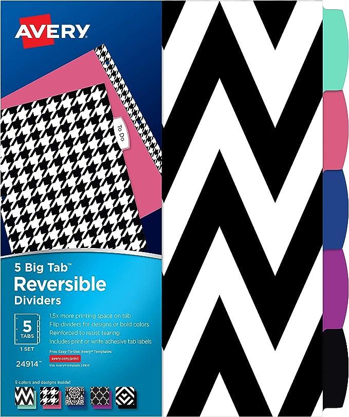 5-Tab Set Assorted Colors Big Tab Reversible Fashion Dividers 24928 - New