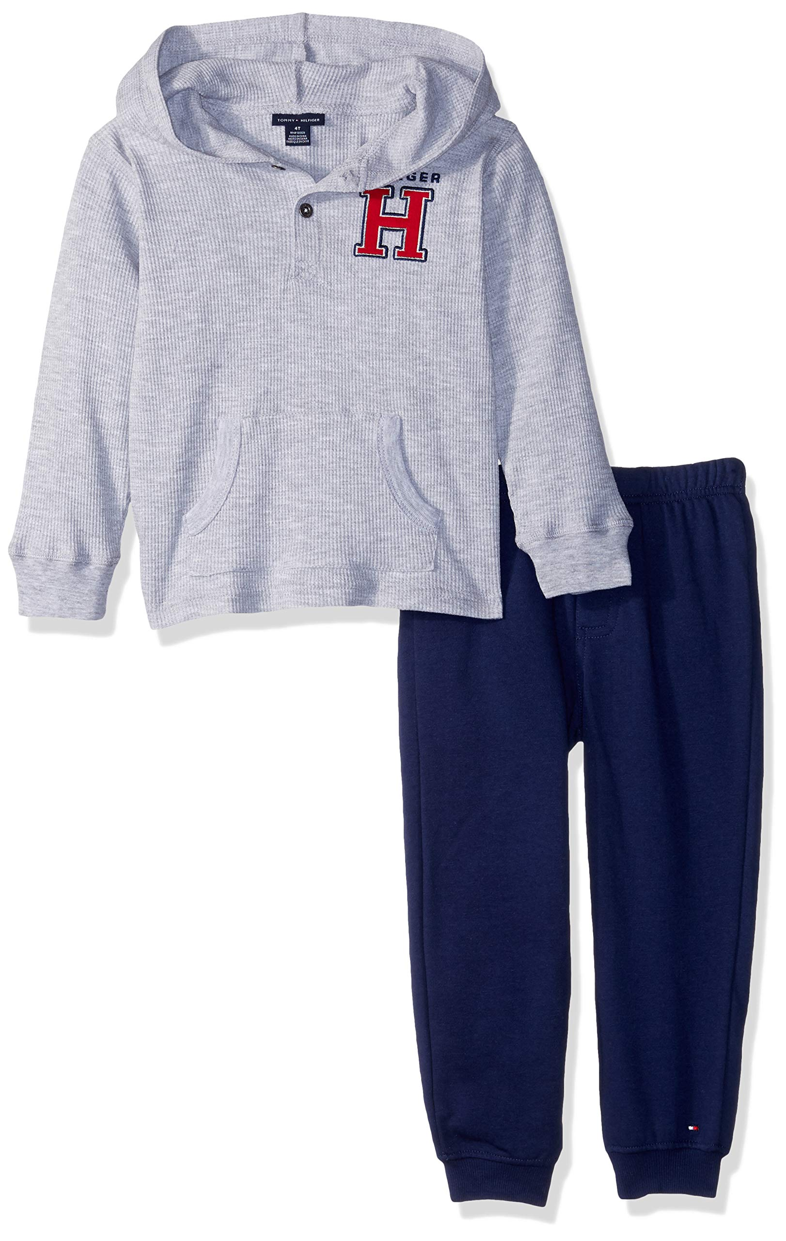 Tommy Hilfiger Boys' Toddler 2 Pieces Hooded Pant Set, Gray/Navy, 2T