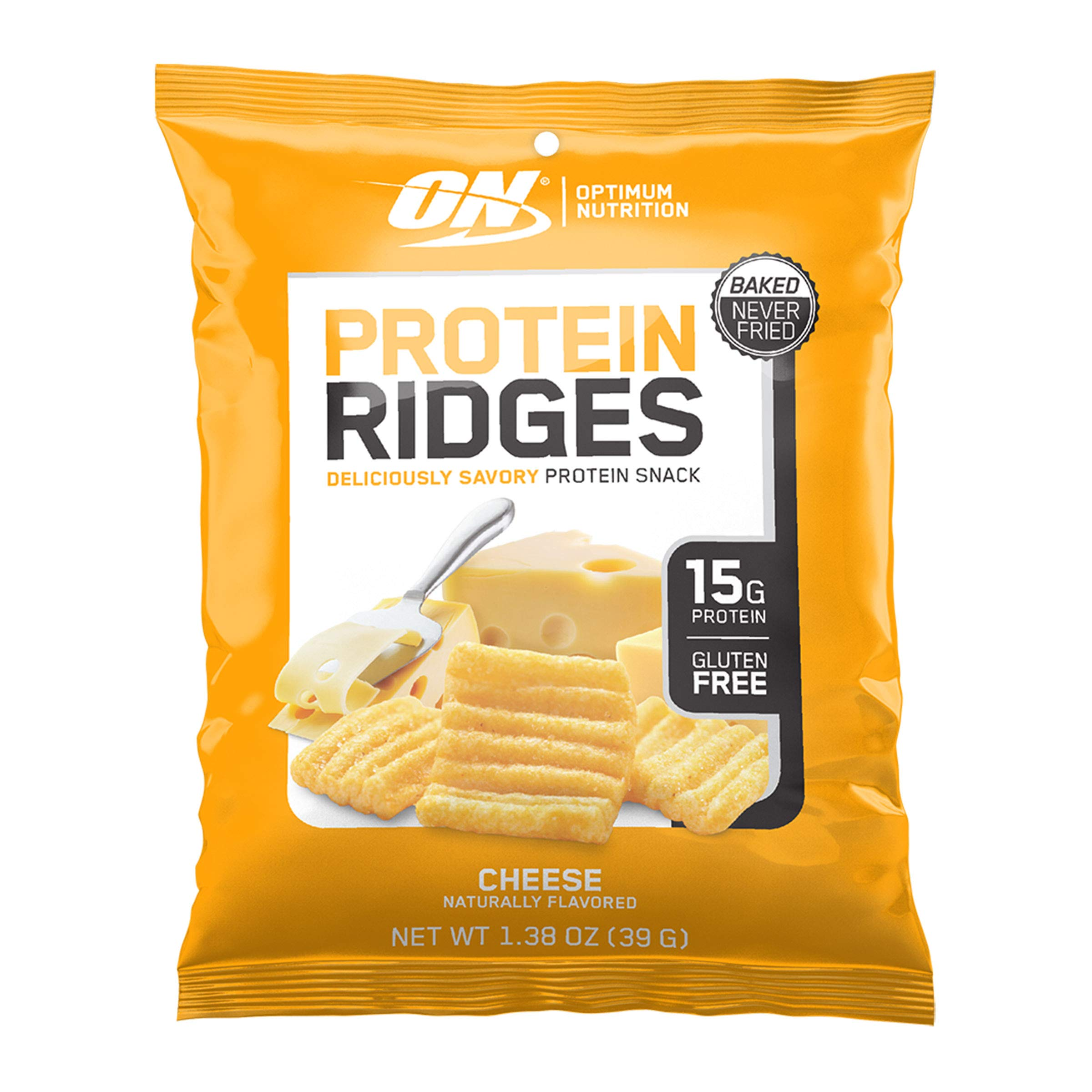 Optimum Nutrition Protein Ridges, Savory Baked Protein Snack Chips, Gluten Free, Flavor: Cheese, 10ct