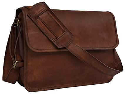 83eb0d451225 Image Unavailable. Image not available for. Color  15 Inch Half Flap Leather  Messenger Bag ...