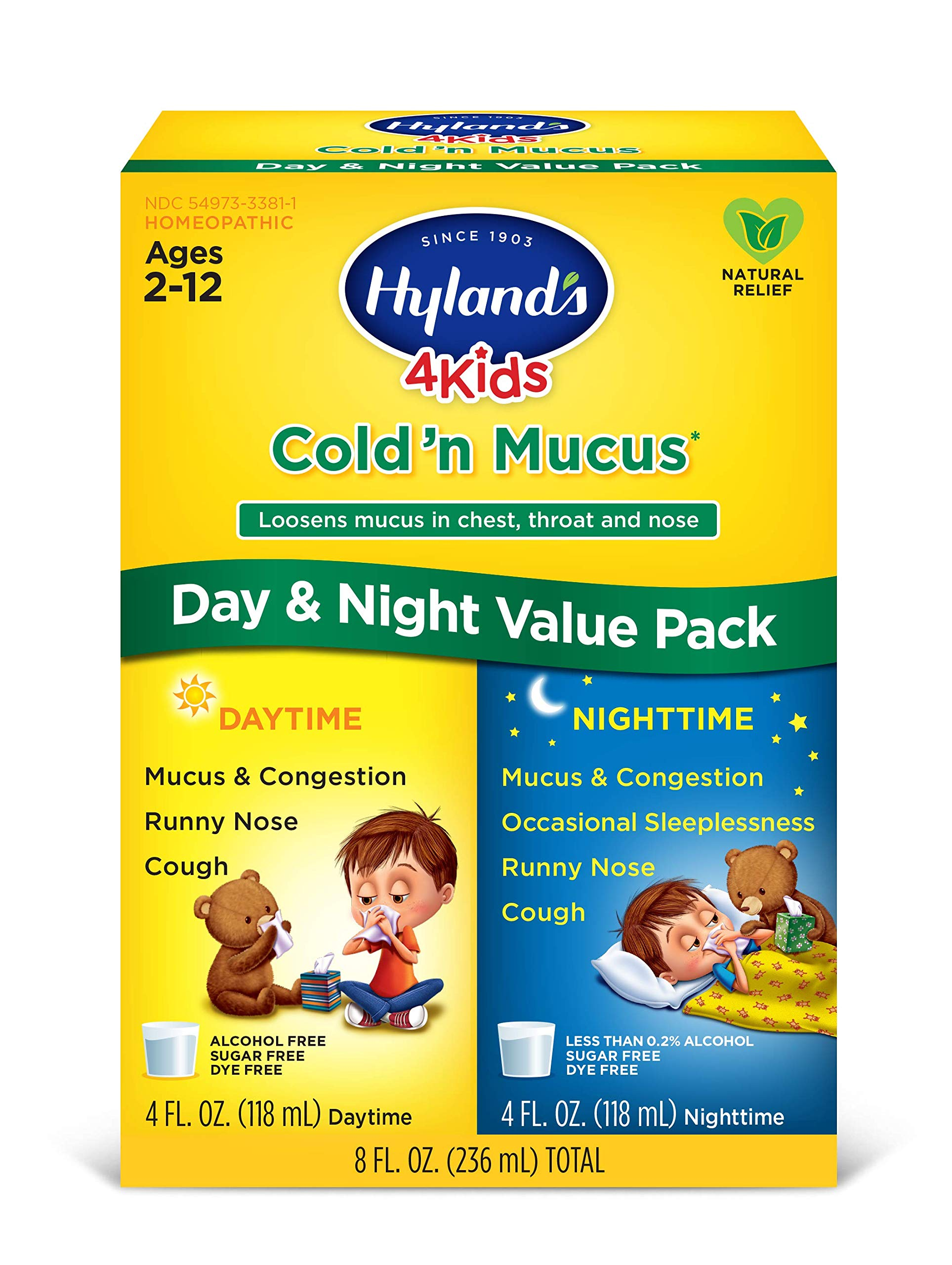 Kids Cold and Mucus Day and Night Value Pack by Hyland's 4Kids, Natural Common Cold Symptom Relief, 8 Fl Oz by Hyland's Homeopathic