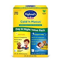 Kids Cold and Mucus Day and Night Value Pack by Hyland's 4Kids, Natural Common Cold...