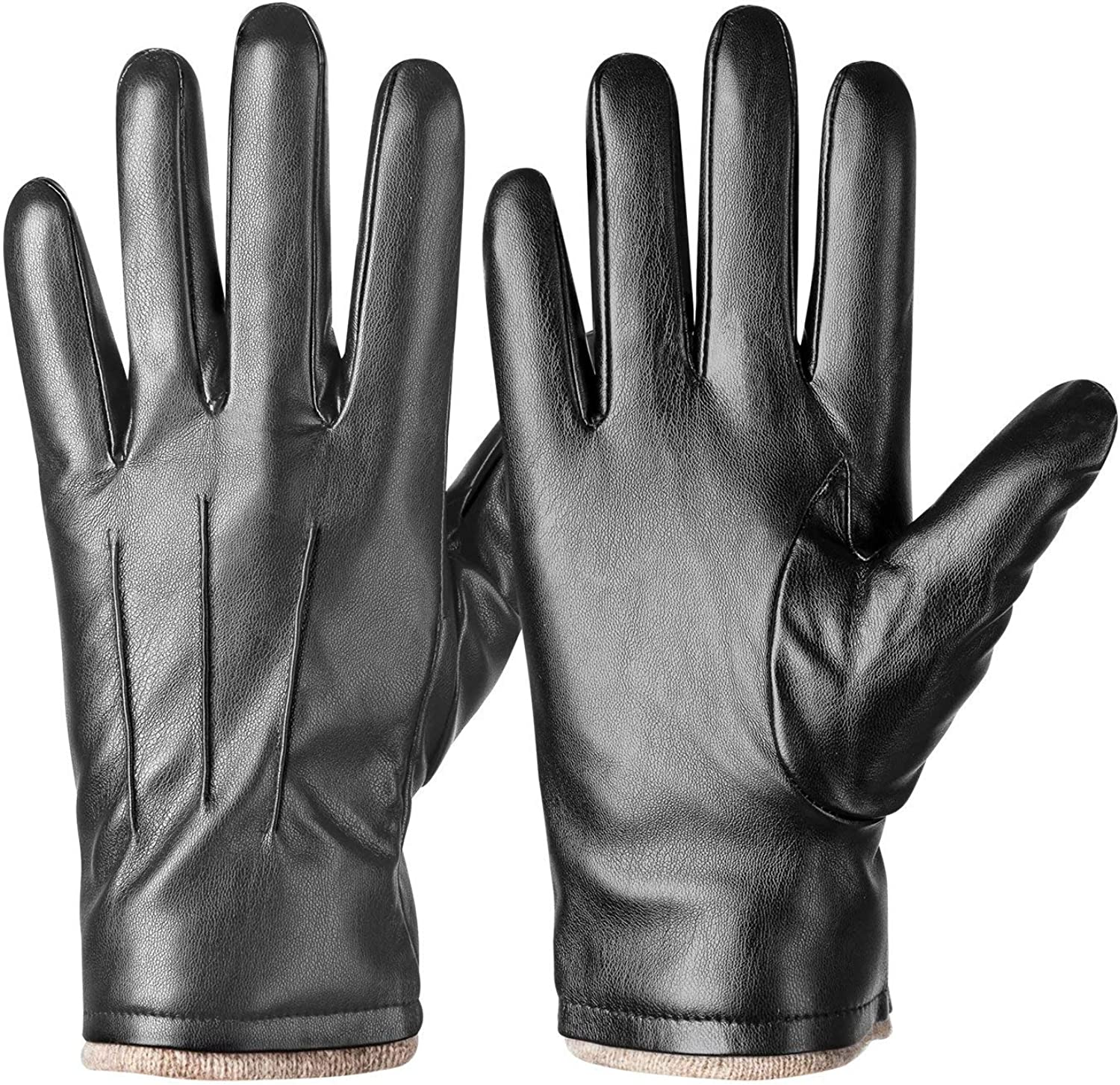 Mens Touch-Screen Genuine Leather Thermal Boys Winter Designer Driving Gloves