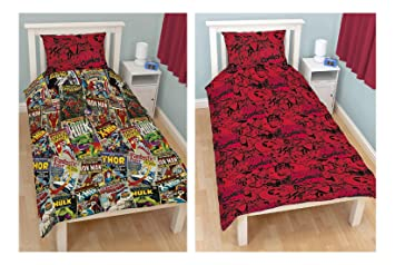 OFFICIAL Marvel Comics Hero U0027Avengersu0027 Reversible Rotary Single Bed Duvet  Quilt Cover Set Children