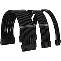 FormulaMod Power Supply Sleeve Extension Cable Kit 18AWG ATX 24P+ EPS 8-P+PCI-E8-P with Cable Combs for PSU to Motherboard (Black)