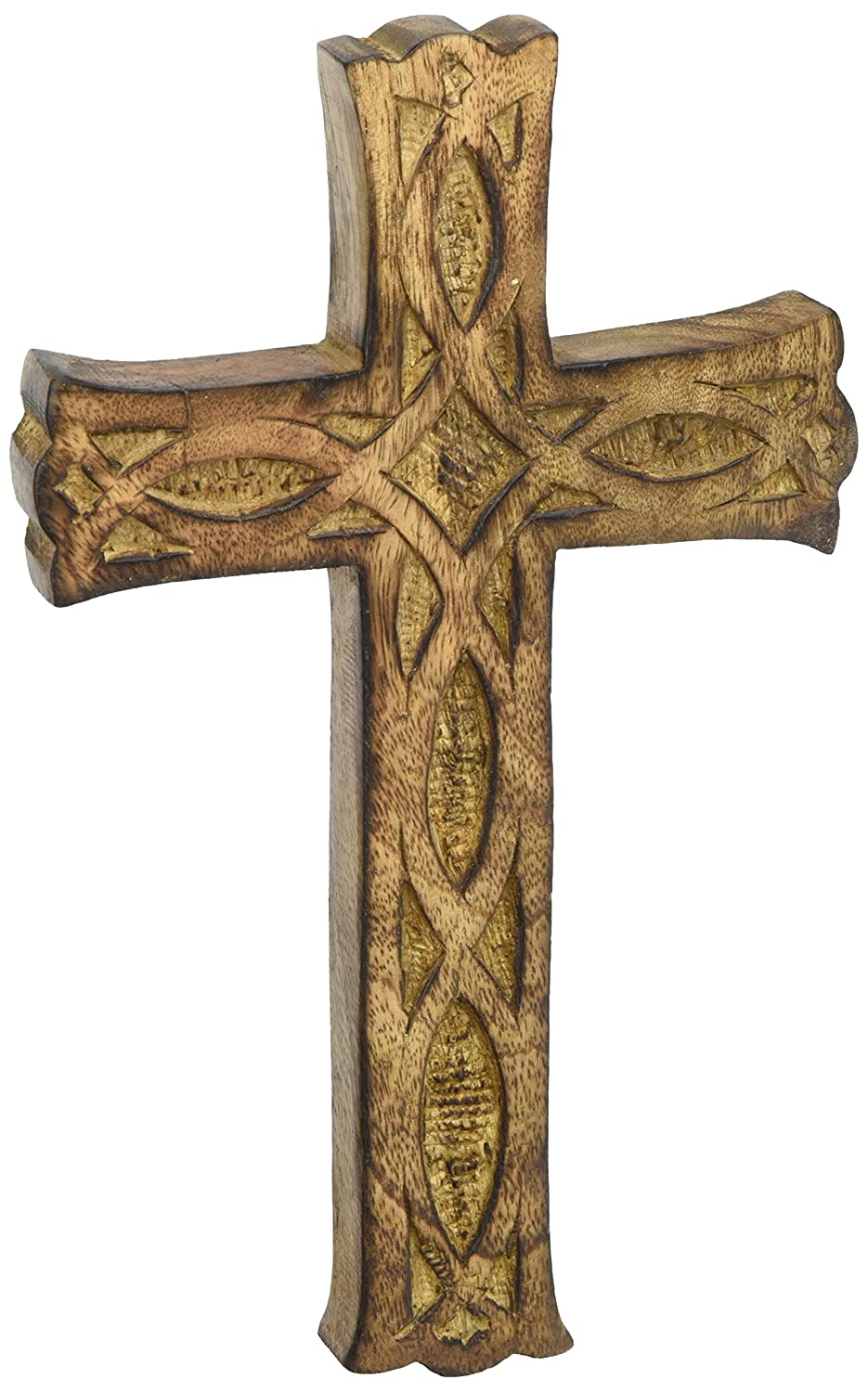 Hosley's Wooden Cross 8 Long. Ideal Gift or Decoration for Home, Weddings, Party, Spa, Meditation, Home Office, Spa, Dorm FBA_FBA-G57563ON-1-EA