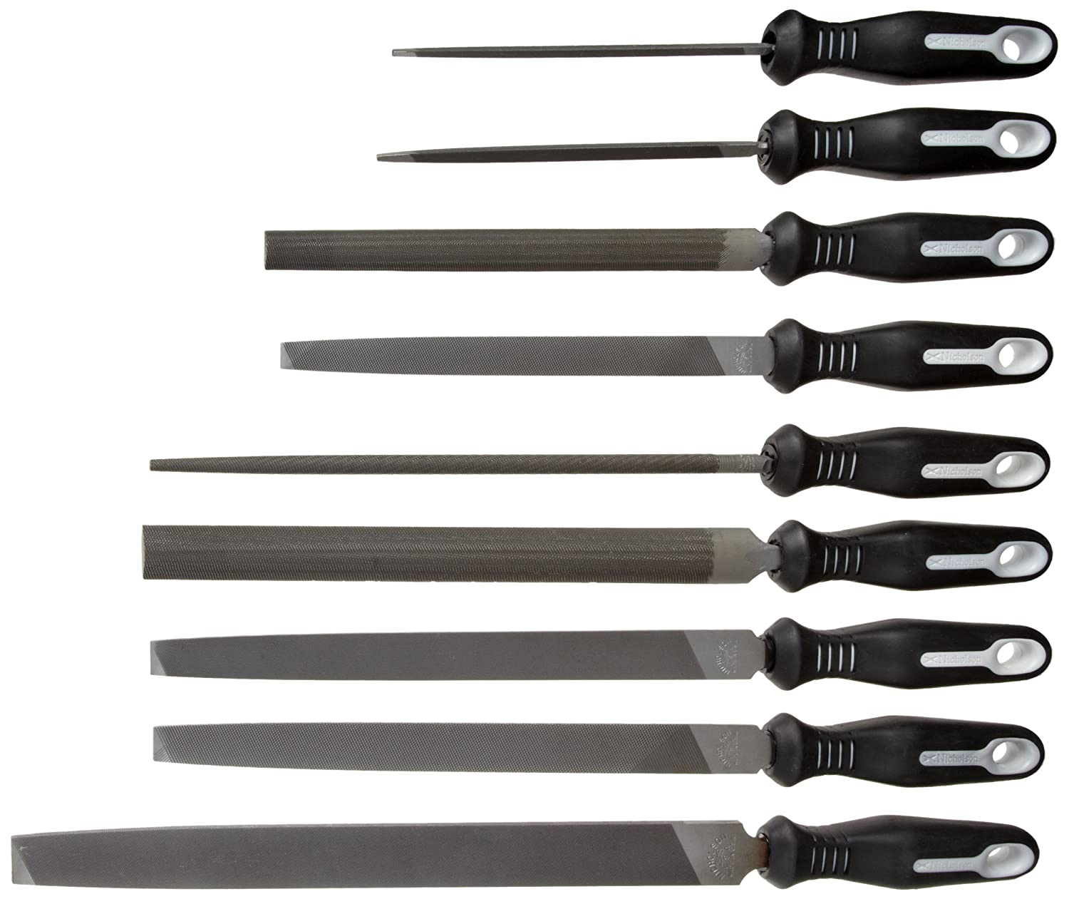 Nicholson 9 Piece Hand File Set with Ergonomic Handles American Pattern
