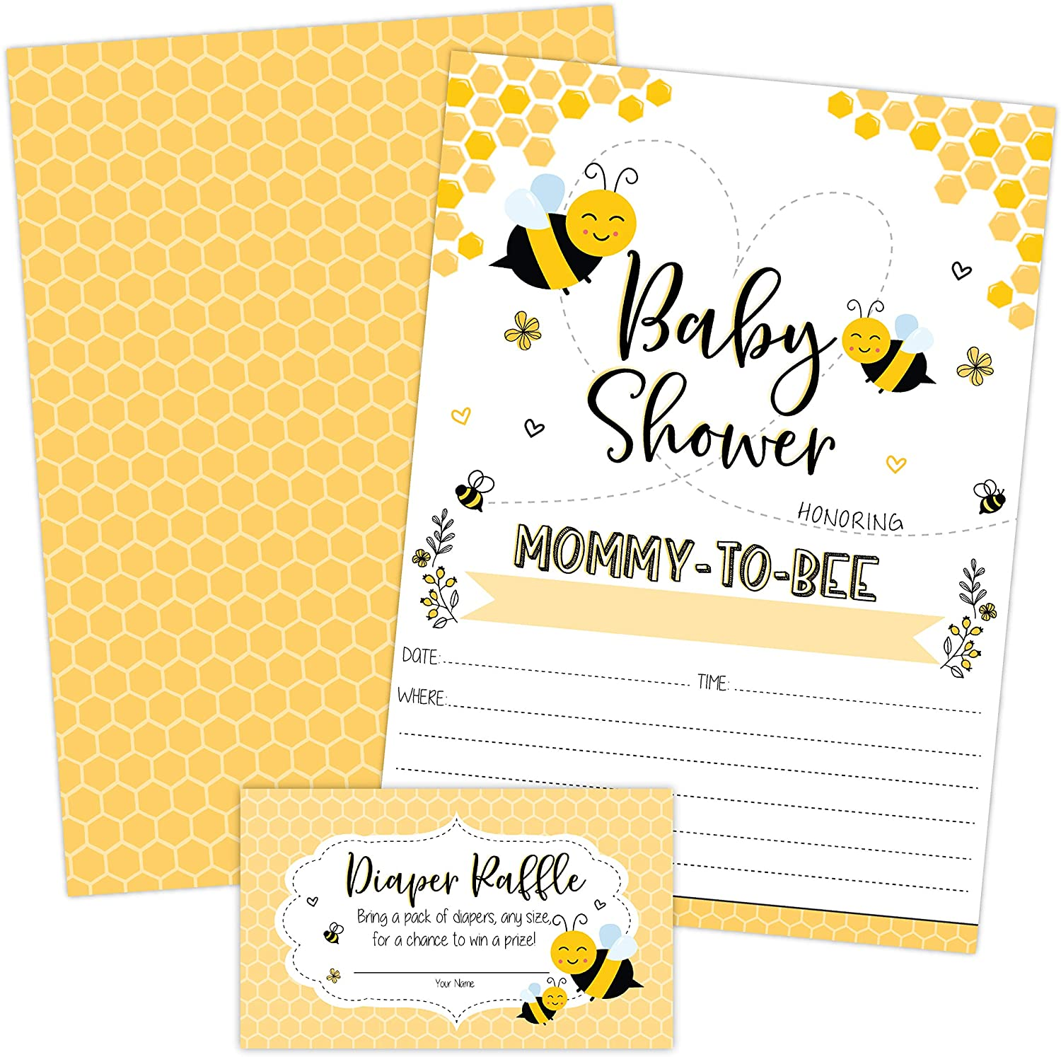 Mom to Bee Baby Shower Invitations, Neutral Yellow Bee Baby Shower Invites with Diaper Raffles Cards, Sprinkle, 20 Invites Including Envelopes