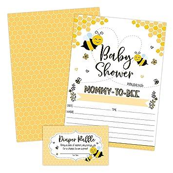 Invitaciones Para Baby Shower Diseño De Abeja Amarilla
