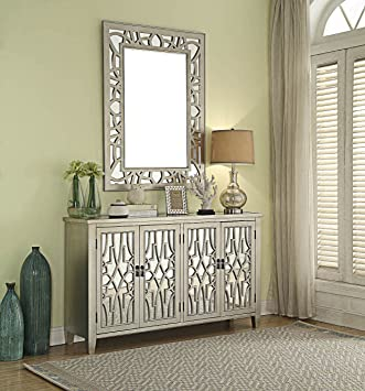 Venetian Champagne Fret Work And Mirrored Glass 4 Door Sideboard/Storage  Cabinet And Mirror Set