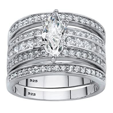 8f0d79ec1 Platinum over Sterling Silver Marquise Cut 3-Piece Cubic Zirconia Multi-Row  Wedding Ring. Roll over image to zoom in. Palm Beach Jewelry