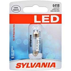 SYLVANIA - 6418 36mm Festoon LED White Mini Bulb - Bright LED Bulb, Ideal for Interior Lighting - Dome, Trunk, Cargo and License Plate (Contains 1 Bulb)