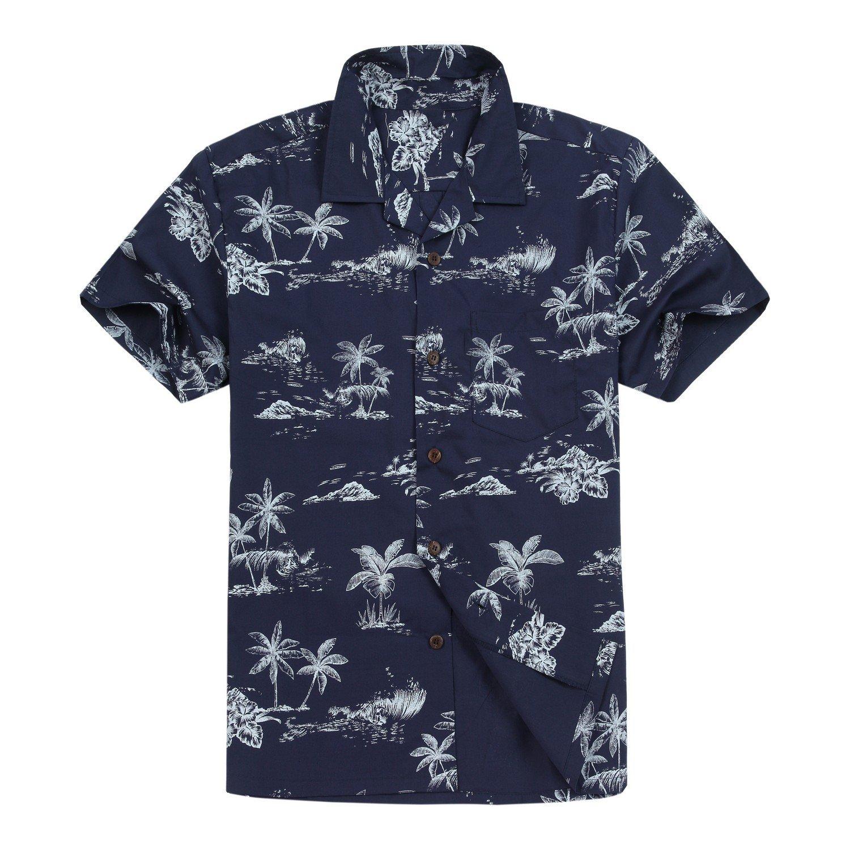 e14ca3eb Hawaii Hangover Men's Hawaiian Shirt Aloha Shirt in Surfers & Palms:  Amazon.co.uk: Clothing