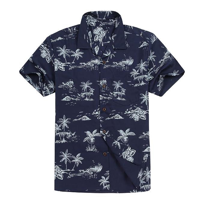 ef52a2bf Hawaii Hangover Men's Hawaiian Shirt Aloha Shirt in Surfers & Palms - Black  - XXXL