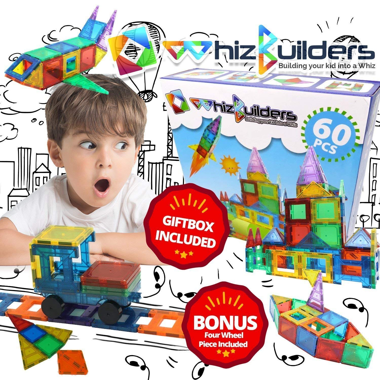 Magnetic Building Tiles Toys Set - Tiles Block Toy Kit for Kids - STEM Educational Construction Stacking Shapes - 60 Pieces by WhizBuilders (Image #8)