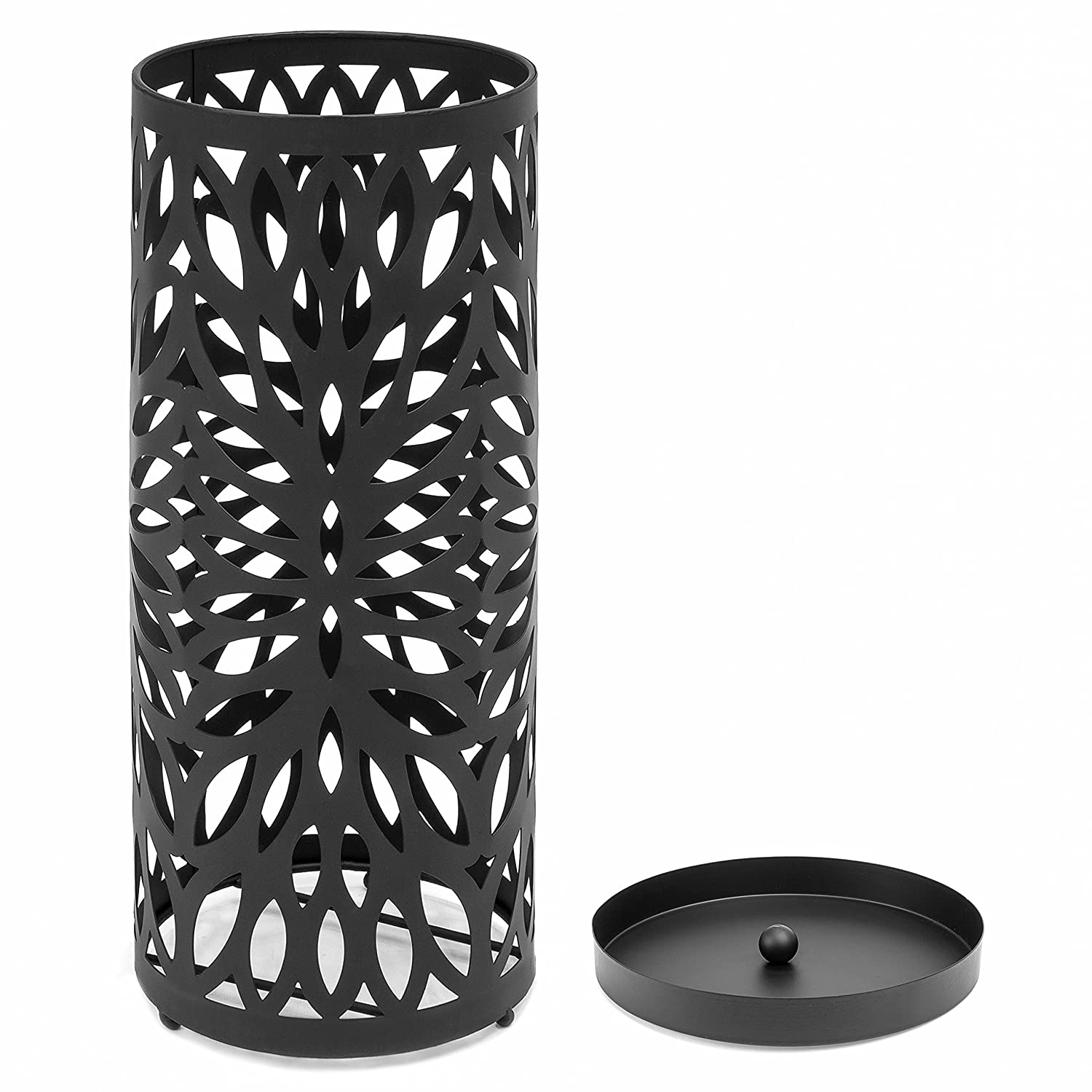 Best Choice Products Modern Spherical Metal Entryway Umbrella Storage Stand with 2 Hooks Black Drain Tray Floor Protection