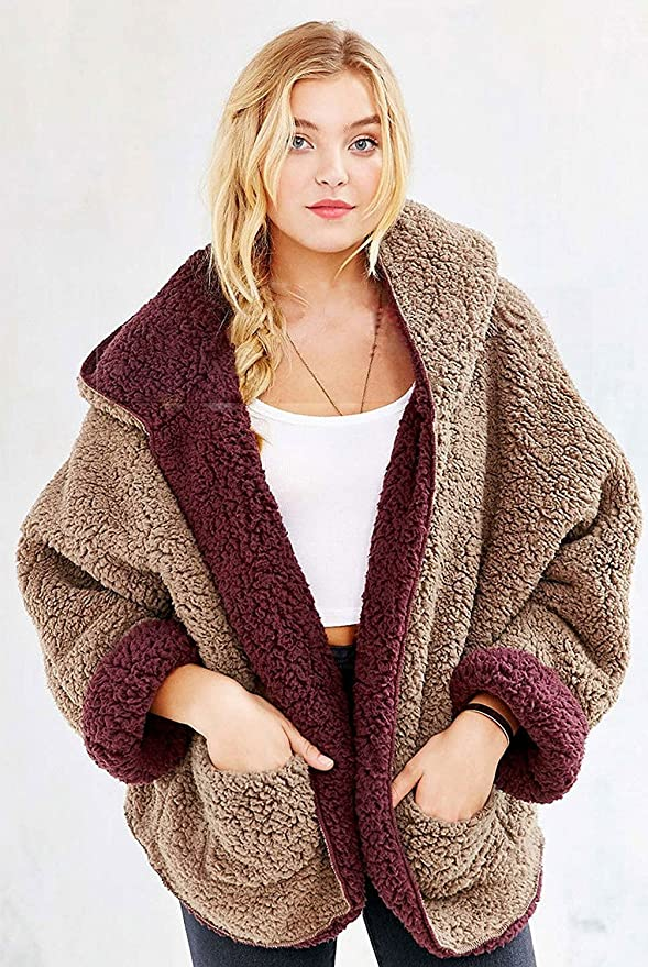 Choies Women's Reversible Faux Fur Winter Hooded Cardigan Coat beige burgundy