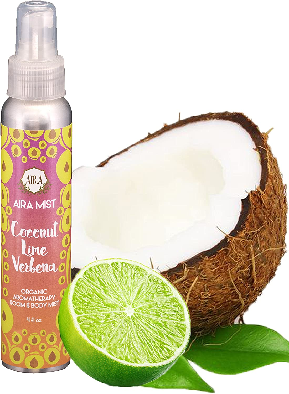Aira Mist Coconut Lime Verbena Organic Room Spray - Essential Oil Spray with Therapeutic Essential Oils - Air Freshener - Living Room Spray & Bathroom Spray Free of Alcohol & Parabens - 4 Ounces