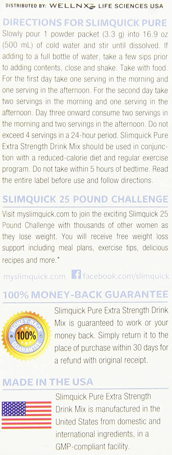 SlimQuick Pure Lose 3x The Weight Extra Strength Drink Mix Berries Flavor, 22 Packets