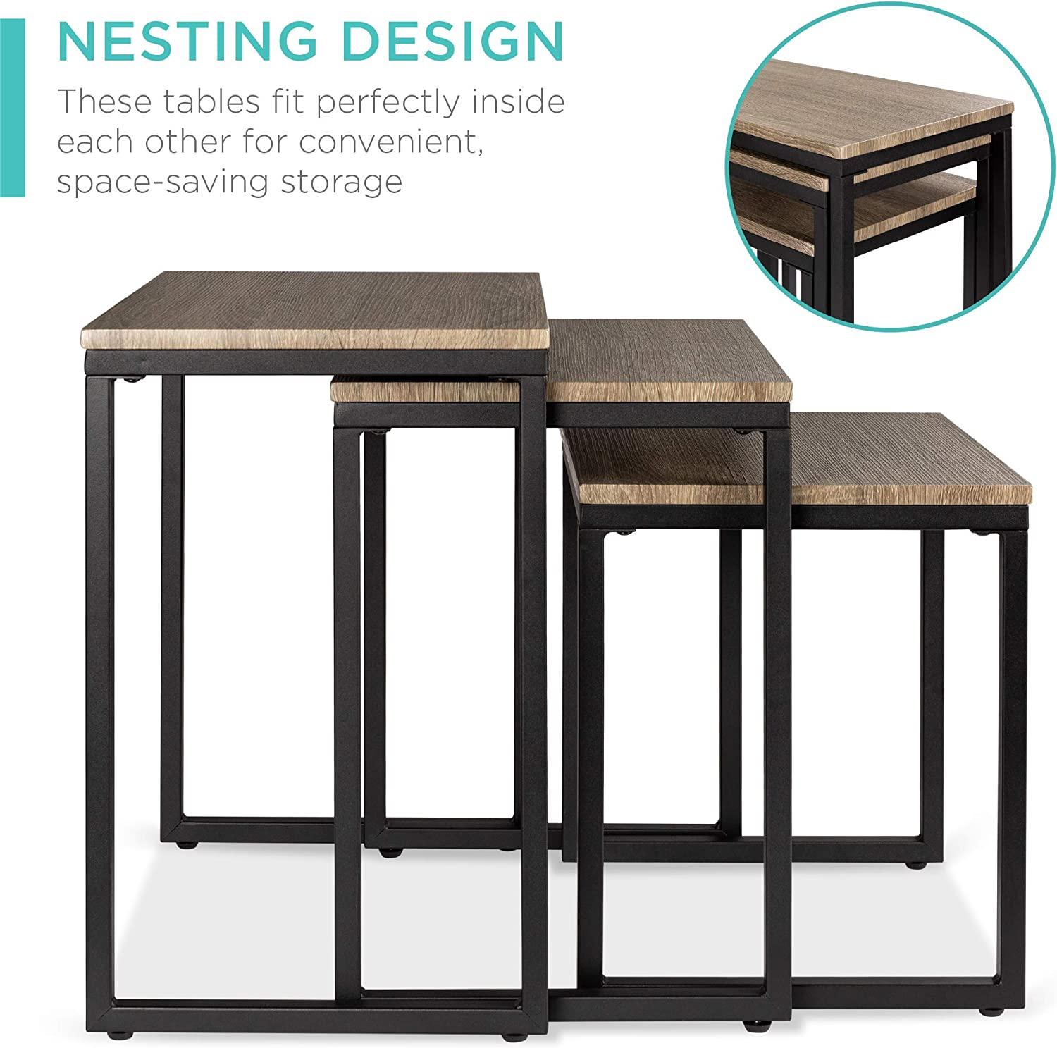 Best Choice Products 3-Piece Modern Stackable Nesting Coffee Accent End Table Living Room Furniture Lounge Set Brown