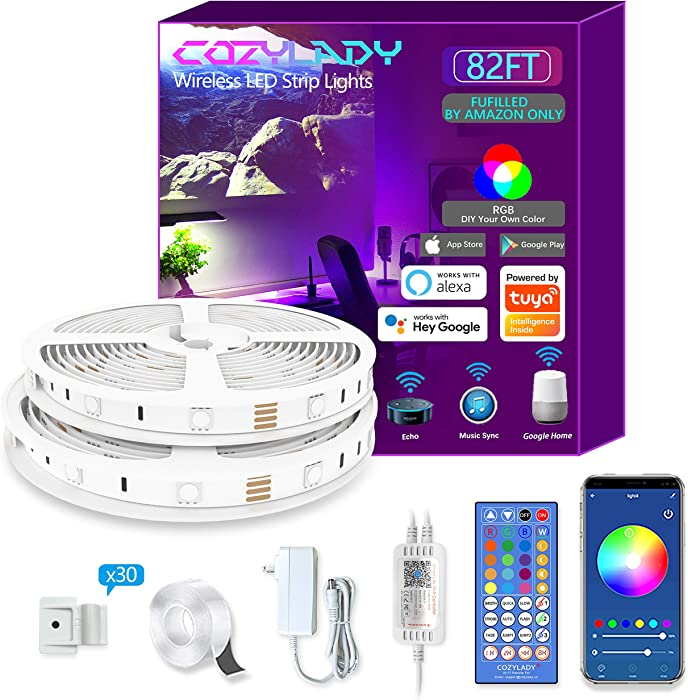 Cozylady LED Strip Lights 82FT - Smart LED Light Strip Compatible with Alexa,Google Home Controlled by Smart APP- Music Sync LED Lights for Bedroom Decor, Room Decor, Children's Room